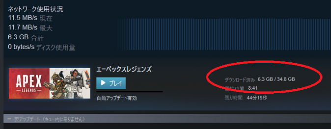 Steam版Apex Legendsのダウンロード通信量